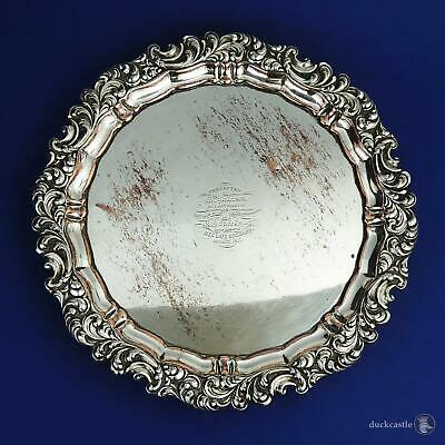 WILLIAM IV OLD SHEFFIELD PLATE SALVER / WAITER TRAY c1835 Victorian Engraving