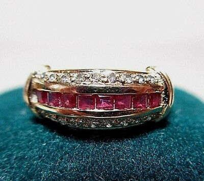 Vintage Diamond & Pink Topaz 14 k Yellow Gold Ring Estate Find Sz 6 Wedding Band