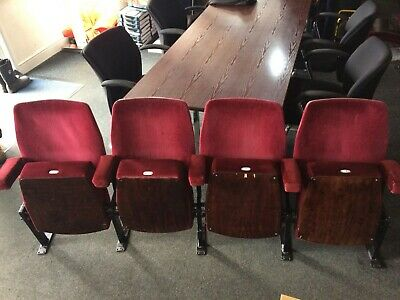 Vintage Red Cinema Seats X 4 Folding Theatre Chairs Retro Upcycling Project