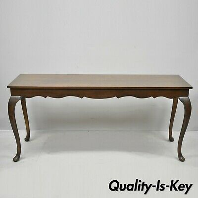"""Vintage Walnut 60"""" Long Queen Anne Style Sofa Console Hall Table"""