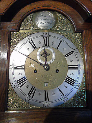 8 Day Oak Longcase Clock by famous Kent maker Henry Baker, West Malling c.1750