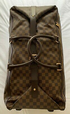 7988407a1401 AUTH Louis Vuitton Eole 60 Damier Ebene Brown Coated Canvas Weekend Travel  Bag