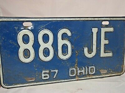 Antique 1967 OHIO License Plate Auto Car Tag # 886 JE; Chevy, Ford, Muscle