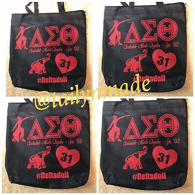 1683c247 Ladies Women Glitter Custom Sorority Black Delta Sigma Theta Zipped Tote Bag