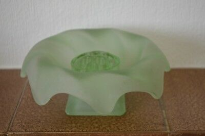 Art Deco Bagley glass green frosted Equinox posy bowl with frog