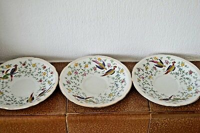 Three antique 19th century saucers with birds of paradise pattern
