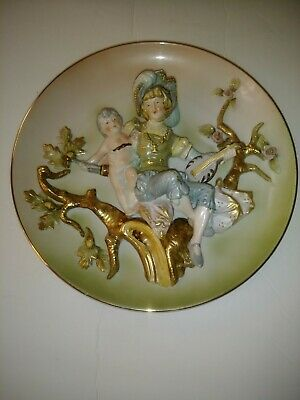 Wall Plate Lenwile Ardalt Raised Porcelain Lady with Cherub child in Garden