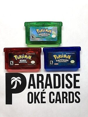 Pokemon Sapphire Ruby Emerald Gameboy GBA AUTHENTIC New Battery Cleaned & Tested