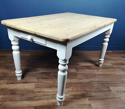 Victorian / Antique Style Pine Scrubbed Top Kitchen Table With Painted Legs