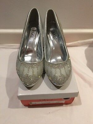 Ladies Silver Colour Party Shoes Size 5.5 / 38