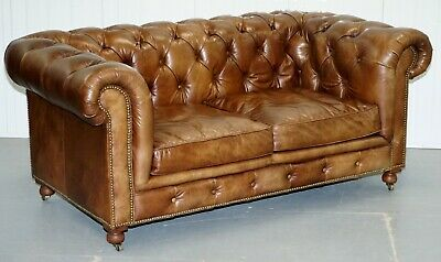 1 Of 2 Rrp£3839 Timothy Oulton Halo Westminster Brown Leather Chesterfield Sofas