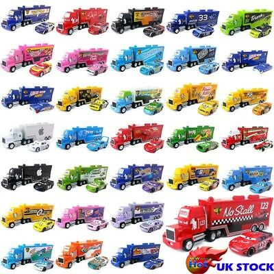 Pixar Cars Mack Racer's Hauler Truck & Racers Metal Toy Car 1:55 New Gift Kids