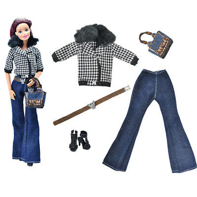 5Pcs/Set Fashion Doll Coat Outfit For FR  Doll Clothes Accessories BLUS