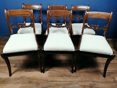 Antique / Set Of 6 Regency Mahogany Dining Chairs Circa 1815 / Sabre Leg