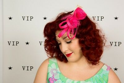 Hot pink sinamay twirl rose feathered comb Fascinator The British Hatter