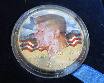 1967 President John F Kennedy Half Dollar Colorized Coin Original Box