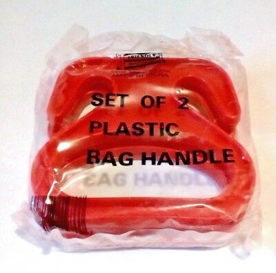 Plastic Shopping Bag Carrying Handles Red Set Of 2