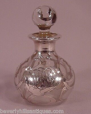 Beautiful Antique Art Nouveau Sterling Silver Overlay Perfume Bottle