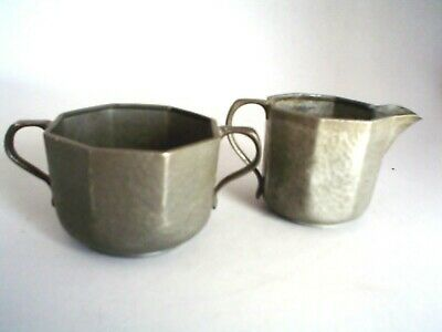 Antique Liberty Tudric Hammered Pewter Creamer and Sugar Bowl Set 01650 Signed