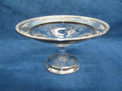 Vintage ELEGANT Wallace Sterling & Etched Crystal COMPOTE/ CANDY DISH..GORGEOUS!