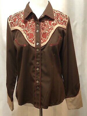 e14b1664642636 SCULLY Women's Brown Tan with Red Embroidered Roses Western Shirt Size M  Cowgirl