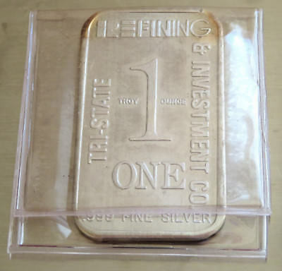 1980 Tri-State Refining .999 Fine Silver Art Bar  1 Troy Oz Old Toned, Flip Case