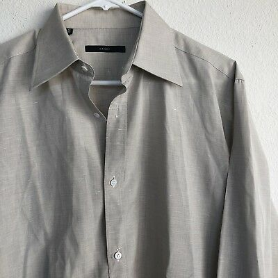 ff1ba89679690 GUCCI Mens Linen Beige Button Down Front Long Sleeve Shirt Size 16   41