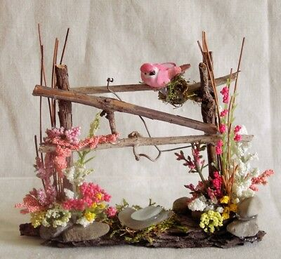 Fairy Garden Doll House Miniature PINK BIRD on TWIG FENCE with FLOWERS ~ SPRING