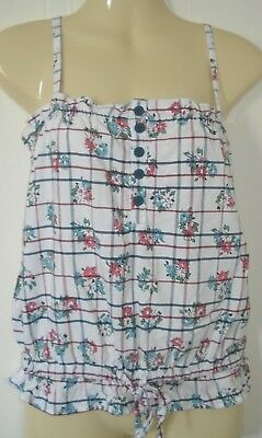 Womens River Island White Check Floral Pattern Gypsy Peasant Boho Top Blouse 8UK