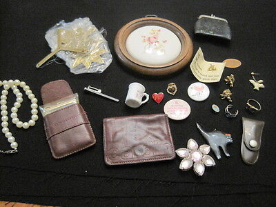 Vintage Junk Drawer Lot Coin Purse, Calculator, Jewelry Estate Lot