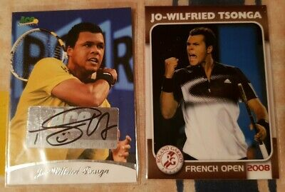 Jo-Wilfried TSONGA Ace Authentic Autograph card #83/85 + 2008 French Open #12/25