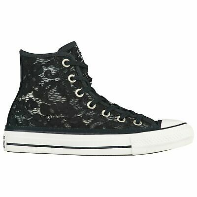 d15cdd135bdbe2 Black Floral Lace Converse Hi Top Chuck Taylor All Stars Women s Size 7 NEW