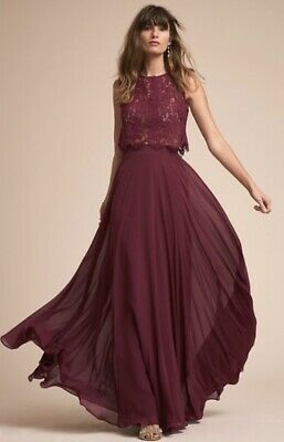 0021270c4d78 NEW Jenny Yoo black cherry wine Lace Crop Cleo Open Back Top Bought at  BHLDN S