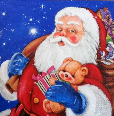 paper napkins,Christmas Santa Claus,presents,sleigh,serviette,33cm-2ps,decoupage