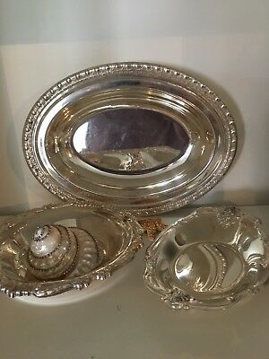 Estate Pieces! Vintage Ornate Silver Plate BOWL DISH TRAY Huge Lot *sweet