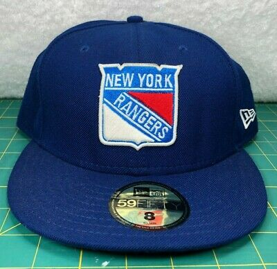 New York Rangers New Era 59Fifty NHL Blue Fitted Wool Baseball Hat~Men's Size 8