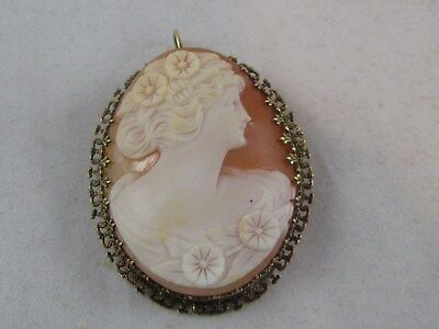 14k Yellow Gold Vintage Carved Shell Cameo  Pendant Brooch -