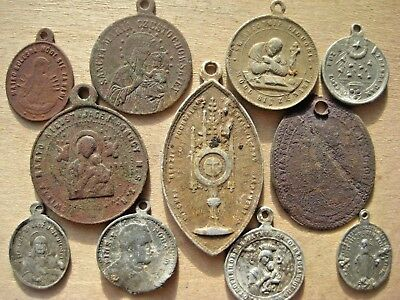ANTIQUE LOT 11pcs Religious CATOLIC Medallions 19 century