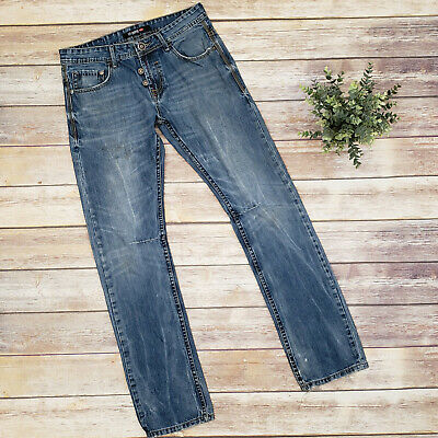 162efb74 Lee Cooper 1908 Straight Jeans Size 32 Distressed Faux Button Fly English  Denim