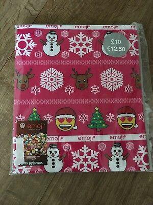 Girls Emoji Christmas Pyjamas 9-10 Years Bnwt Pink Xmas Pjs New