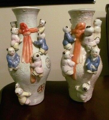"TWO Vintage Chinese FERTILITY VASE Set- 7 Asian Children Climbing Each-10""- EUC"