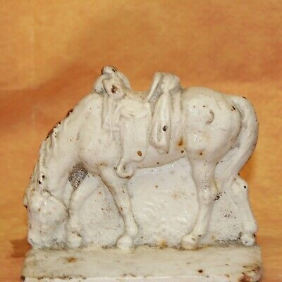VTG Antique White Cast Iron Grazing Saddled up Horse Bookend Door stop Heavy one