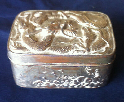 Vintage Chinese Trinket Box Silver White Metal Carved Dragon Scorpion Floral