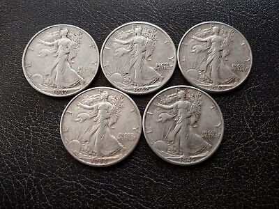 Nice Lot of Five (5) Choice XF Walking Liberty Half Dollars