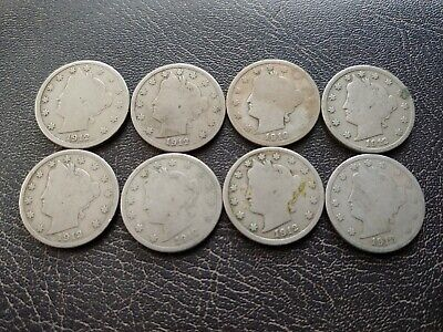 NIce Lot of Eight (8) 1912-D Liberty Head Nickels