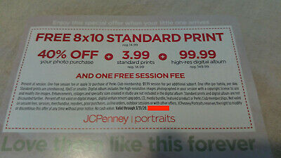 JCPENNEY PORTRAITS COUPON, 8x10 print+40% off purchase+3 99 standard print