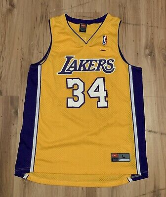 dcc4936c8917 Vintage Nike Los Angeles Lakers Shaquille O Neal Swingman Jersey Mens Large  Gold