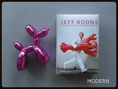 Jeff Koons Conversations Book + Pop Art Balloon Dog Figure Set : Pink