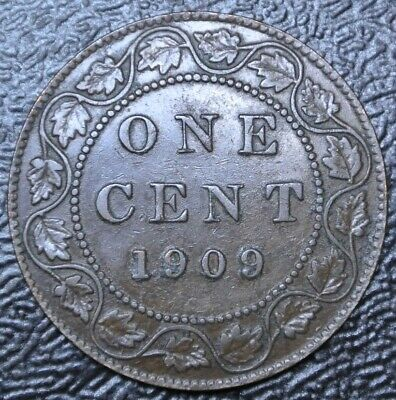 OLD CANADIAN COIN 1909 ONE CENT LARGE CENT - BRONZE - Edward VII - Nice