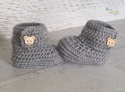 Grey Crochet Knitted Baby Booties Shoes Socks Pregnancy Announcement Baby Reveal